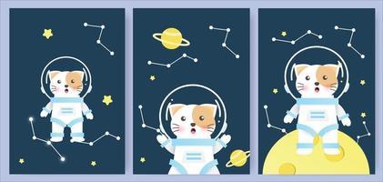 Cute cat in space card set vector