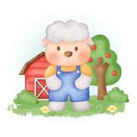 dibujos animados de ovejas lindo dibujado a mano de color de agua. vector