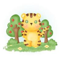 watercolor cute tiger in the forest. vector