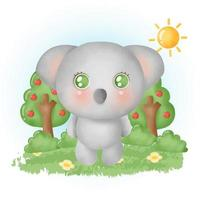water color cute koala in the forest. vector