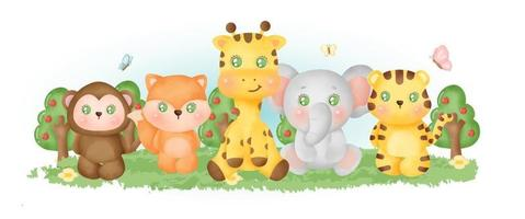 Cute jungle animal in the forest vector