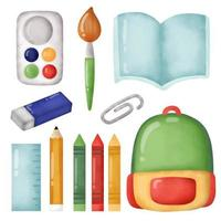 Hand drawn back to school supplies set . vector