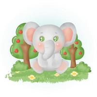 watercolor cute elephant in the forest. vector