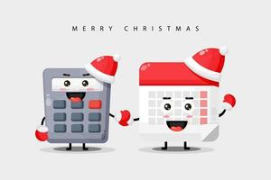 Cute calculator and calendar, mascot holding hands wearing Christmas clothes vector