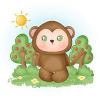 water color cute monkey in the forest. vector