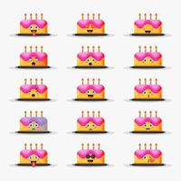 Cute birthday cake with emoticons set vector