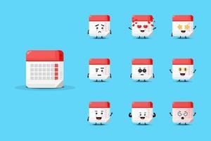 Cute calendar mascot design set vector