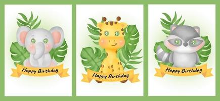 set of birthday cards with elephant, giraffe and raccoon  in water color style. vector