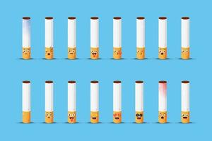 Cute cigarette with emoticons set vector