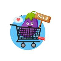 Cute eggplant mascot in grocery basket vector