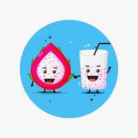 Cute dragon fruit and dragon fruit juice mascot holding hands vector