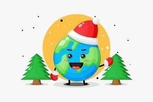 Cute earth mascot celebrates Christmas day vector