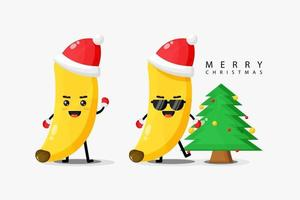 Cute banana mascot celebrates Christmas day vector