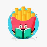 Cute french fries mascot reading a book vector