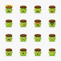 Cute frankenstein with emoticons set vector