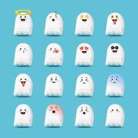 Cute halloween ghost with emoticons set vector