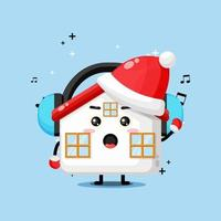 Cute house mascot listening to music on Christmas day vector