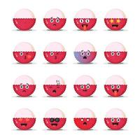 Cute lychee with emoticons set vector