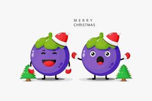 Cute mangosteen celebrates Christmas vector