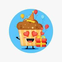 Cute muffins mascot on birthday vector