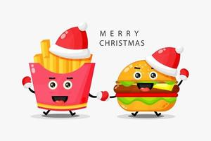 Cute french fries and mascot burgers celebrate Christmas day vector