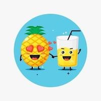 Cute pineapple and pineapple juice mascot holding hands vector