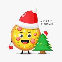 Cute pizza mascot celebrates Christmas day vector