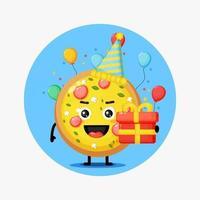 Cute pizza mascot on birthday vector