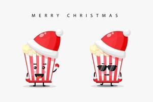 Cute popcorn mascot wearing Christmas hat vector