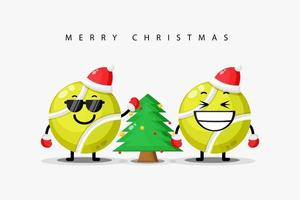 Cute tennis ball mascot welcomes Christmas vector