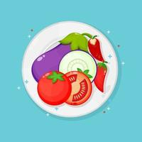 Eggplant, tomatoe and red chilies on plate vector