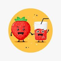 Cute strawberry and strawberry juice mascot holding hands vector