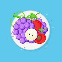 Grapes and cherry on a plate vector