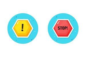 diseño de icono de advertencia y parada vector
