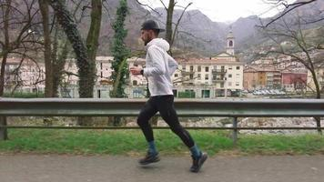 Young Runner During a Warm up On the Street video