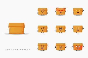 Cute mascot box design set vector