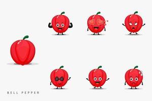 Cute bell pepper design character set vector