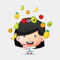 Cute doctor girl carrying healthy juice vector