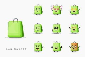 Cute bag mascot design set vector