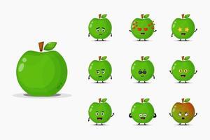 lindo conjunto de mascota de manzana verde vector