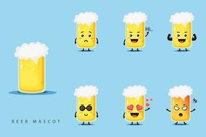 Cute beer mascot design set vector