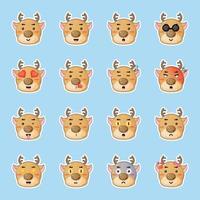 cute deer stickers set vector