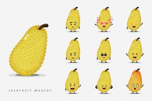 Cute jackfruit mascot set vector