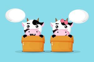 Cute cow in a box vector