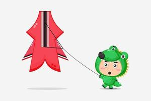 Cute crocodile mascot playing with kites vector