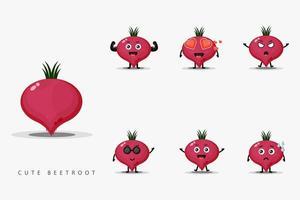 Cute beetroot mascot design set vector