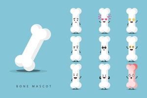 Cute bone mascot set vector