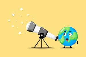 Cute earth character are looking at stars vector