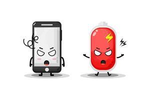 lindo teléfono y batería con expresiones enojadas vector