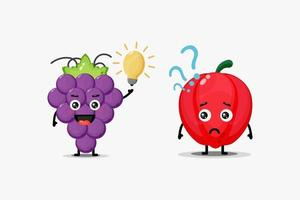 cute wine and bell pepper characters who have ideas and confusion vector